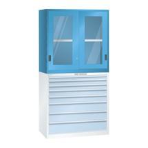 Aufsatz-Schiebetürschrank mit Sichtfenster für LISTA Schubladenschrank, HxBxT 1.000 x 1.023 x 725 mm