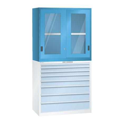 Aufsatzschrank für Schubladenschränke LISTA mit Sichtfenstertüren