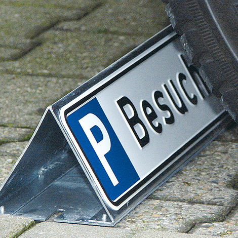 Aufsteller Parkbegrenzung, verzinkter Stahl,  für Parkplatz-Schilder 52x11cm