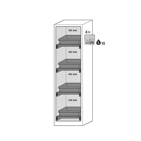 Ausstattungspaket für Chemikalien-/Giftschrank. H bis 1950 mm, BxT 545 x 520 mm