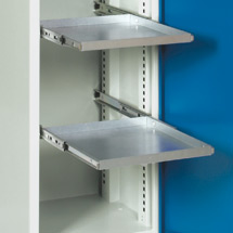 Ausziehbarer Fachboden, verzinkt. Für Schränke BxT 500x500 mm