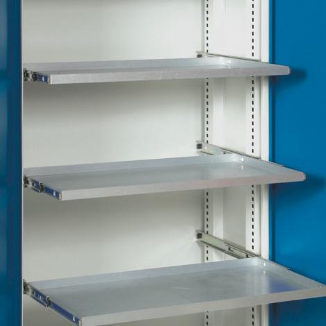 Ausziehbarer Fachboden, verzinkt. Für Schränke BxT 950x500 mm