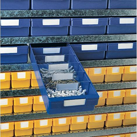 Auszugssperre für Regalkästen aus Pplypropylen