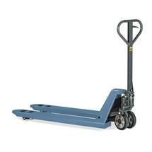 B-Ware Aktions-Handhubwagen, TK 2.000 kg, GL 1.150 mm, Vollgummi/Nylon, Einfachrollen, RAL 7016 taubenblau