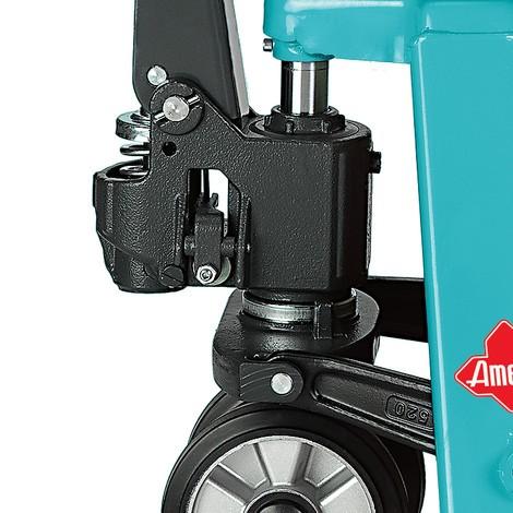 B-Ware Handhubwagen Ameise® mit Schnellhub, TK 2.000 kg, GL 1.150 mm, Polyurethan, Tandemrollen, RAL 5018 türkisblau