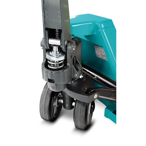 B-Ware Handhubwagen Ameise®, TK 2.500 kg, GL 1.150 mm, Vollgummi/Polyurethan, Tandemrollen, RAL 5018 türkisblau