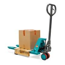 B-Ware Mini-Handhubwagen Ameise®, GL 800 mm, Polyurethan/Nylon, RAL 5018 türkisblau