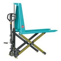 B-Ware Scheren-Hubwagen Ameise® mit Schnellhub, Tragkraft 1.000 kg, Polyurethan/Nylon, RAL 5018 türkisblau