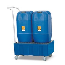Bac de rétention pour bidons de 60 litres, mobile