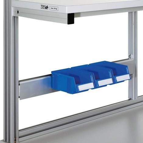 Baguette d'accrochage pour casiers de rangement pour tables de travail