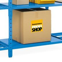 Balda para estantería de cargas pequeñas con suelo de paneles de acero