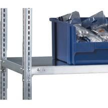 Balda para estantería de cargas pequeñas META, sistema de atornillado, carga por estante de 80 kg, gris claro