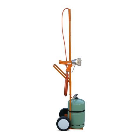 Balicí sada spistolí na smršťovací fólii a vozíkem na propanové lahve