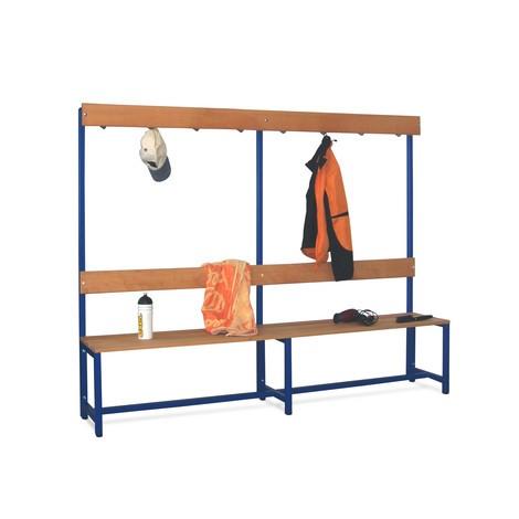 Banc de vestiaire PAVOY avec lattes en bois de hêtre, 1 côté avec barre à crochets, longueur 2000 mm sans porte-chaussures