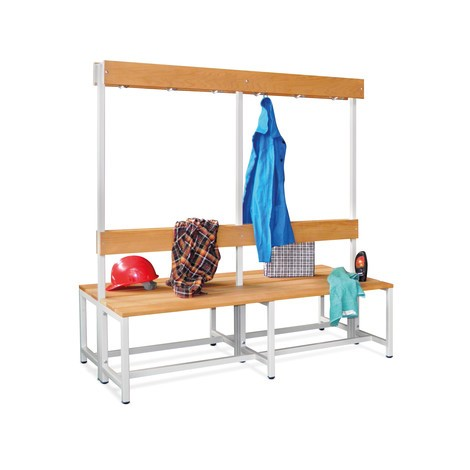 Banc de vestiaire PAVOY avec lattes en bois de hêtre, 2 côtés avec barre à crochets, longueur 2000 mm sans porte-chaussures