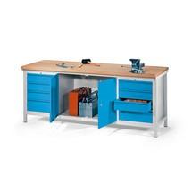 Banco da lavoro PAVOY con 2 contenitore a cassetti +armadio, AxLxP 900 x 2.000 x 700 mm