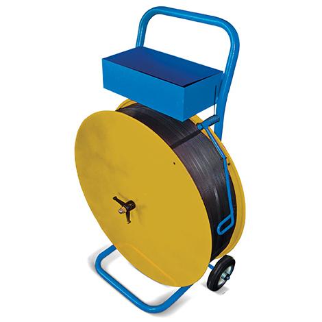 Bandabrollwagen für Kunststoffband. Mit Ablagekasten + Bandführung +Schiebebügel