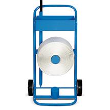 Bandabrollwagen für PET-Kraftband. Mit Aufnahme für Ersatzrolle