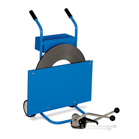 Bandabrollwagen schmal für einlagiges Stahlband. Mit Ablagekasten