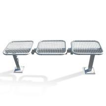 Banquette en treillis métallique, pose libre, 3 sièges