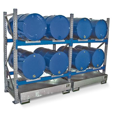 Barrel rack inklusive fangst bassin, tilbygningssektion