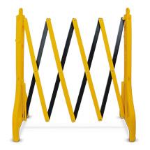 Barrière ciseaux en polyéthylène HD, noir-jaune