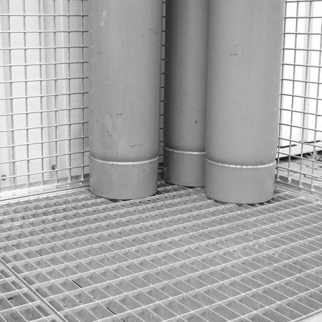 Base de rejilla para contenedor de gas con techo tejadillo