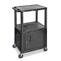 BASIC plastic transport trolley with base cabinet