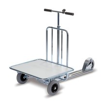 Bedrijfsstep met transportvlak + rubberen wielen