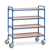 Beistellwagen fetra® für Sichtlagerkästen. Für 12 Kästen auf 4 Etagen.