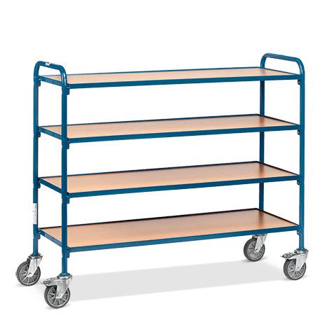 Beistellwagen fetra®  für Sichtlagerkästen. Für 16 Kästen auf 4 Etagen.