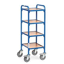 Beistellwagen fetra® für Sichtlagerkästen. Für 4 Kästen auf 4 Etagen.