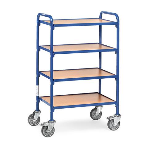 Beistellwagen fetra® für Sichtlagerkästen. Für 8 Kästen auf 4 Etagen.