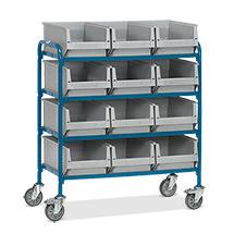 Beistellwagen fetra® mit 12 Sichtlagerkästen auf 4 Etagen.