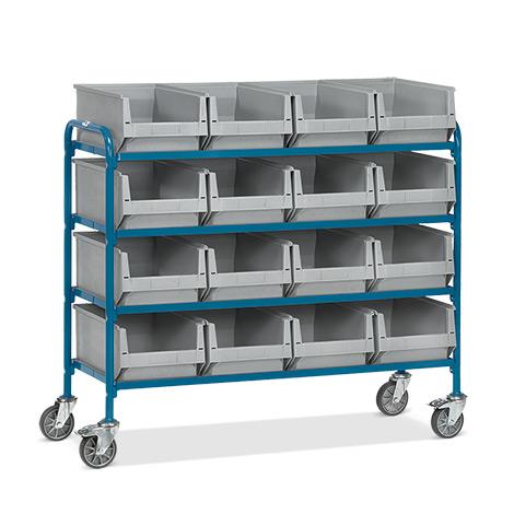 Beistellwagen fetra® mit 16 Sichtlagerkästen auf 4 Etagen.