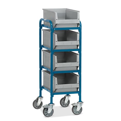 Beistellwagen fetra® mit 4 Sichtlagerkästen.