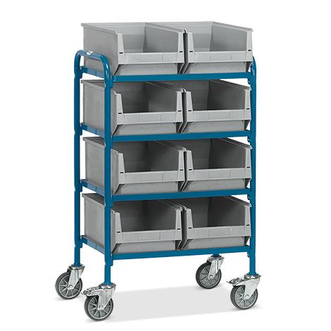 Beistellwagen fetra® mit 8 Sichtlagerkästen auf 4 Etagen.