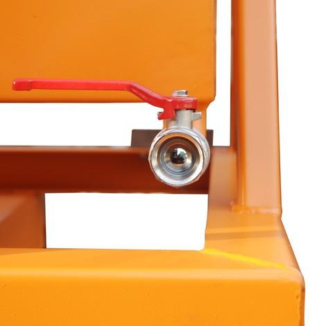 Benne basculante à copeaux, possibilité de déchargement au niveau du sol, peint, volume 1 m³ avec entrées de fourche