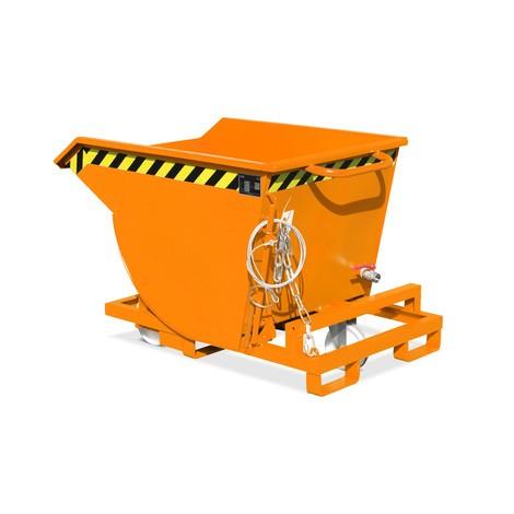 Benne basculante avec déverrouillage à câble + mécanisme d'aide au basculement, possibilité de déchargement au niveau du sol