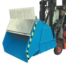 Benne basculante avec mécanisme d'aide au basculement Premium, construction large, peint, avec couvercle, volume 1 m³