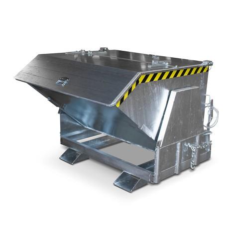 Benne basculante avec mécanisme d'aide au basculement Premium, construction large, galvanisée, avec couvercle