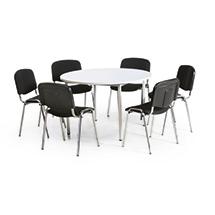 Besprechungsgruppe: 1 runder Tisch und 4 Stühle, schwarz
