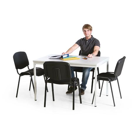Besprechungsgruppe: 1 Tisch und 4 Stühle, schwarz