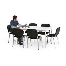 Besprechungsgruppe: 1 Tisch und 6 Stühle, verchromt