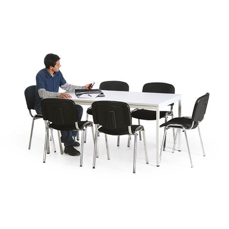 besprechungsgruppe 1 tisch und 6 st hle verchromt. Black Bedroom Furniture Sets. Home Design Ideas