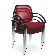 Besucherstuhl Open Chair 10 mit Armlehnen. Vierfußgestell, Netzrückenlehne