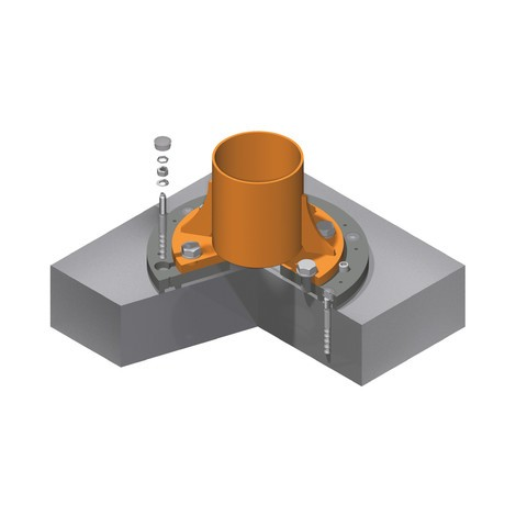 Bevestigingssysteem voor kolomzwenkkraan en wandzwenkkraan