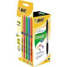 BIC® Druckkugelschreiber Atlantis® Classic 12 Stück + 5 Textmarker Grip GRATIS