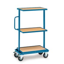 Bijzet- en verzamelwagen fetra® met 3 vaste houten legborden