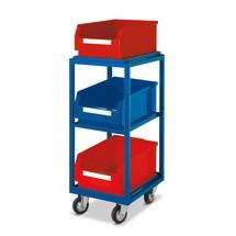 Bijzetwagen met magazijnbakken van polyethyleen